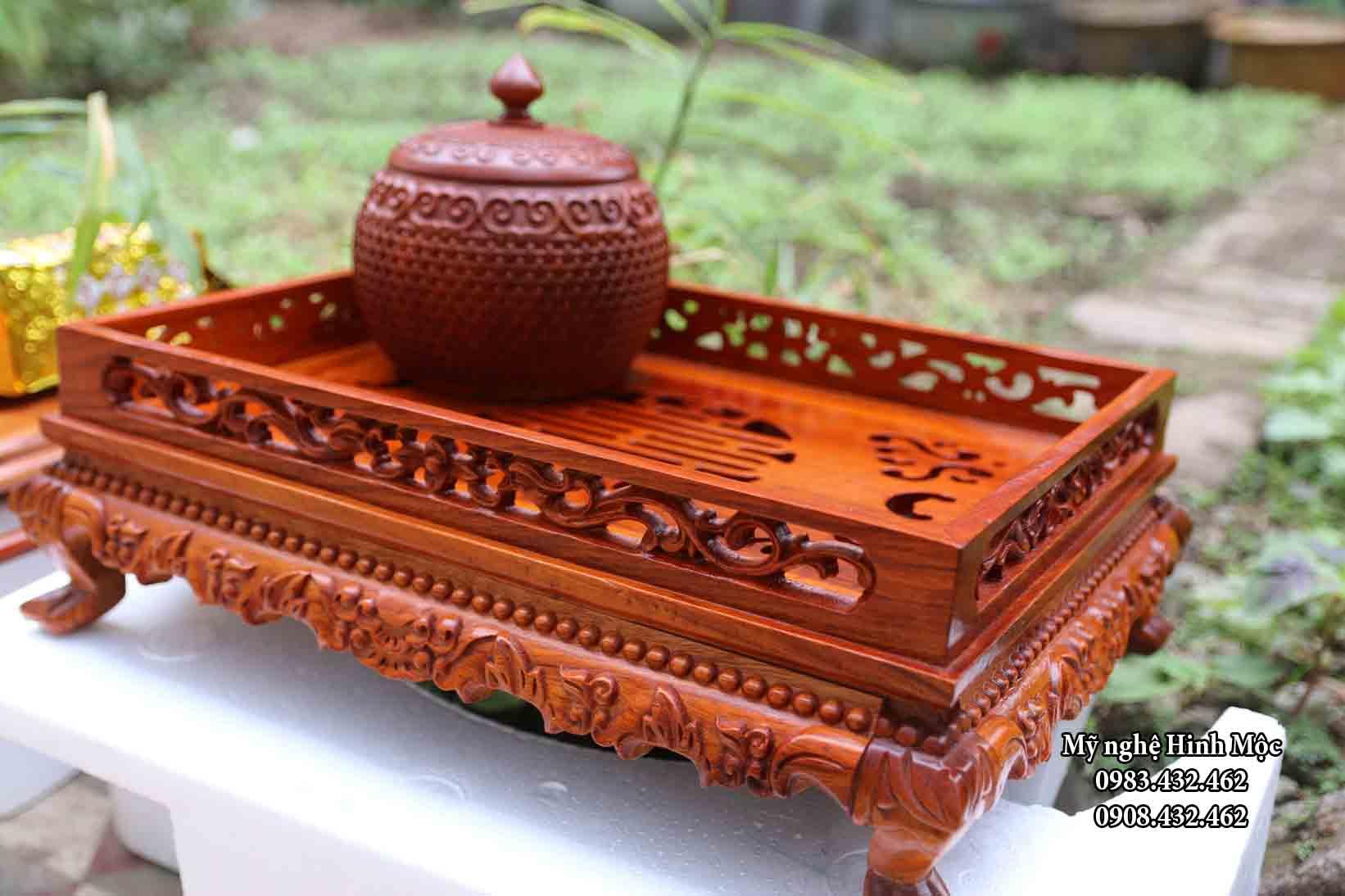 Khay trà gỗ hương