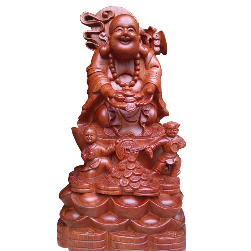 Tượng Phật Di Lặc bằng gỗ tung tiền vàng