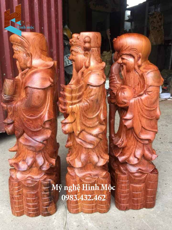 Tượng 3 ông phúc lộc thọ gỗ hương