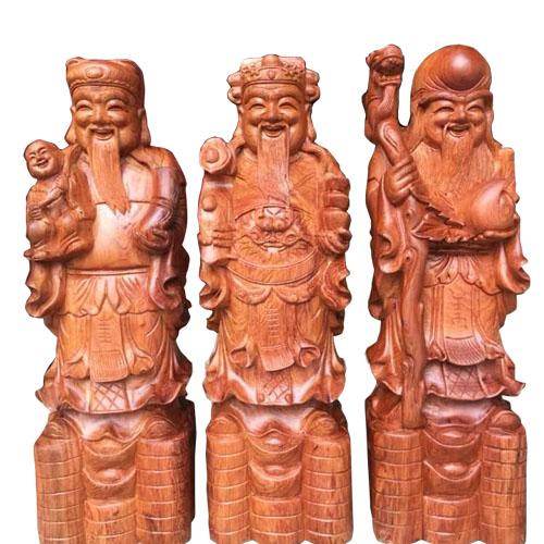 Tượng Phúc Lộc Thọ Tam Đa bằng gỗ