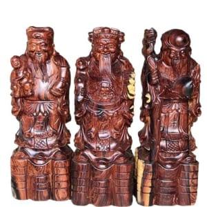 Tượng Phúc Lộc Thọ bằng gỗ cẩm