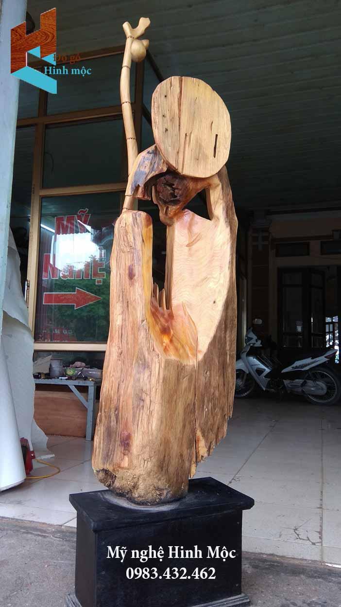 tượng gỗ Bồ Đề tâm rỗng gỗ lũa