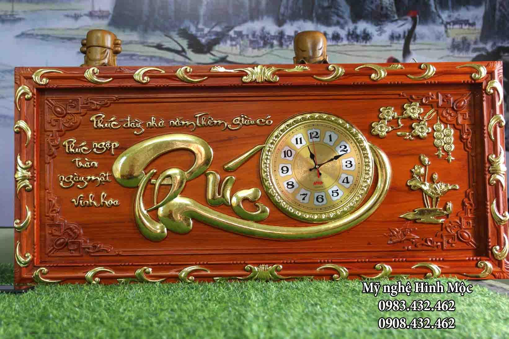 Đồng hồ tranh chữ phúc gỗ hương