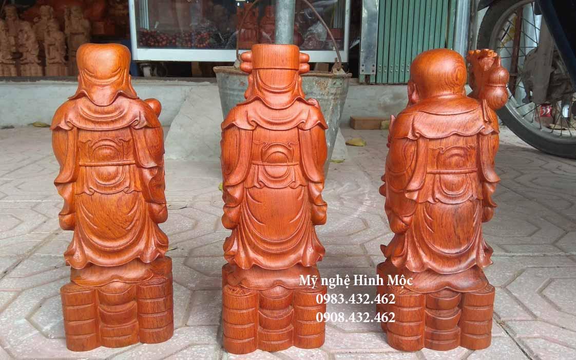 Tượng gỗ 3 ông Phúc Lộc Thọ 30cm