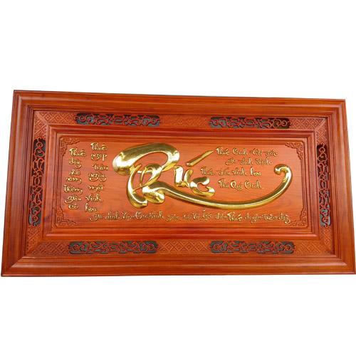 Tranh chữ Phúc gỗ hương dát vàng