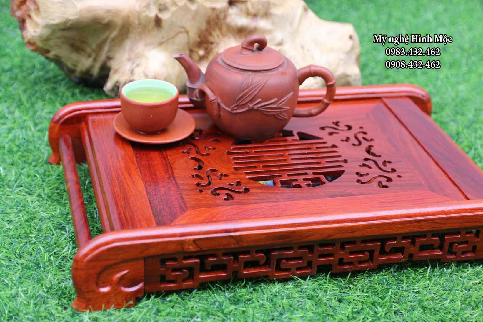 khay trà gỗ chân cuốn
