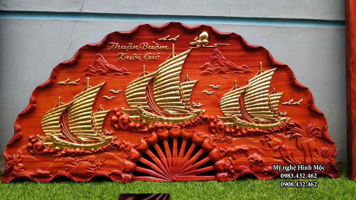 Quạt thuyền buồm gỗ hương