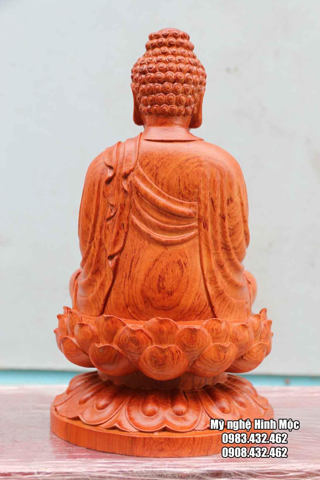 Tượng A Di Đà cao 40cm gỗ hương đá