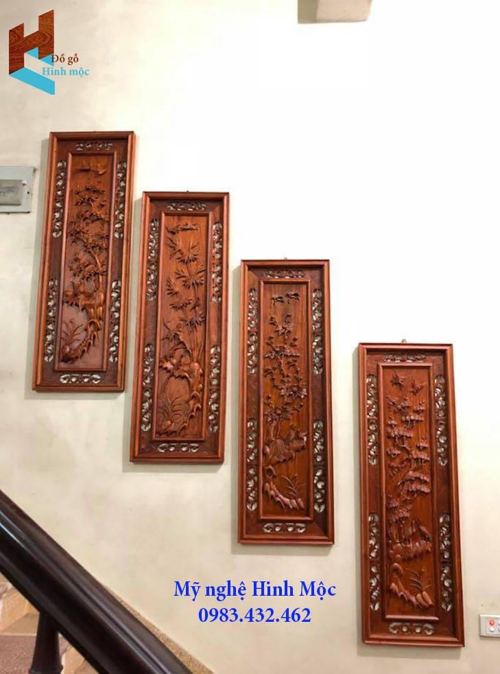 Tranh gỗ tứ quý treo cầu thang