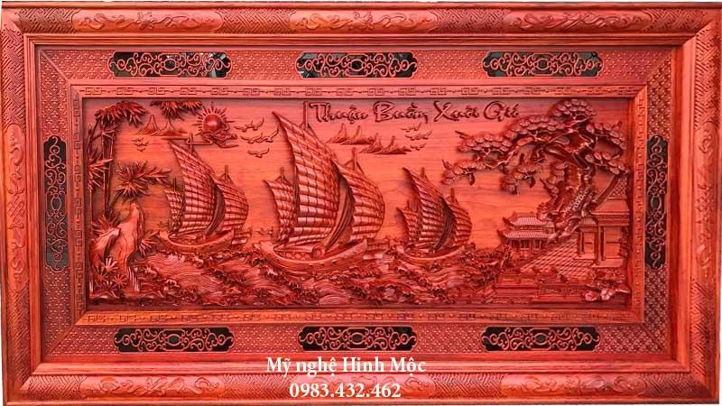 Tranh gỗ phong thủy thuận buồm