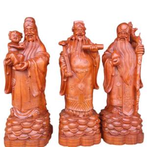 Tượng Phúc Lộc Thọ 80cm gỗ hương
