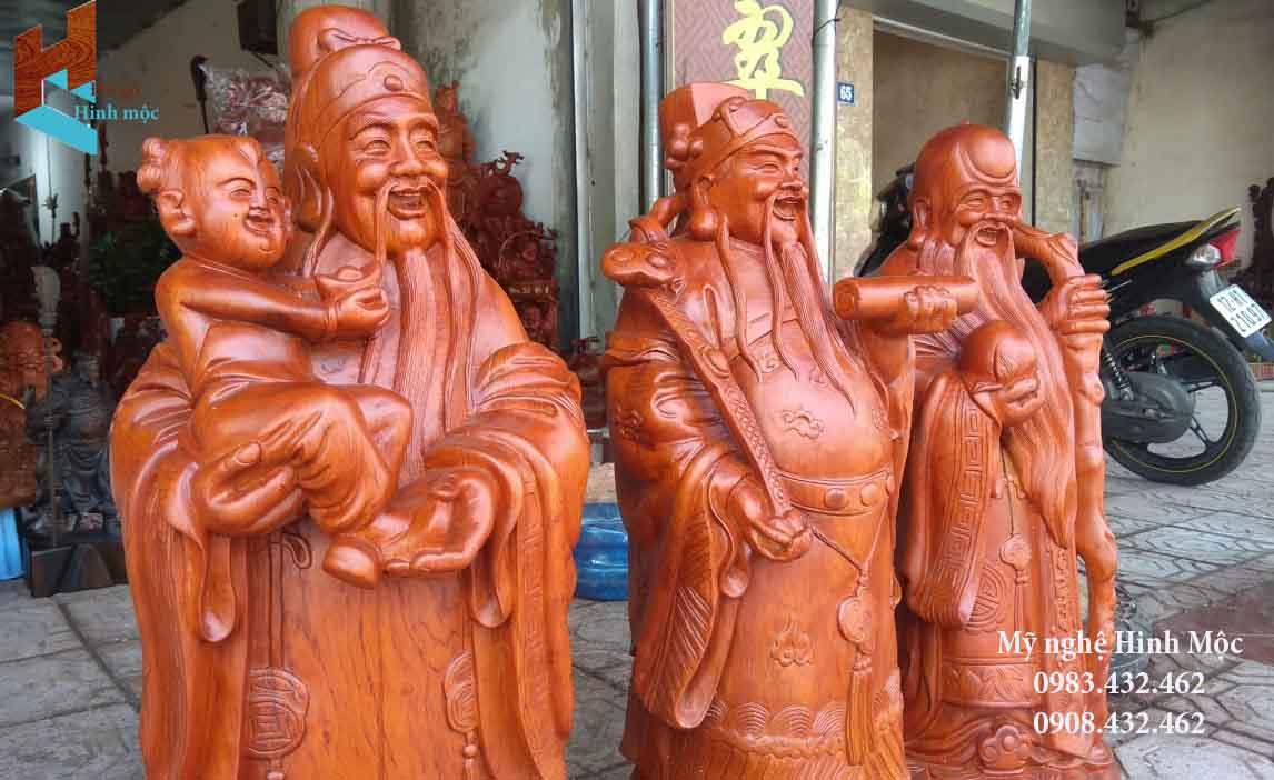 Tượng gỗ Phúc Lộc Thọ 80cm