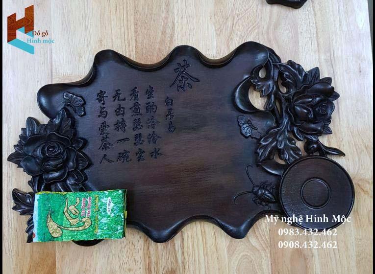 khay trà bằng gỗ gụ