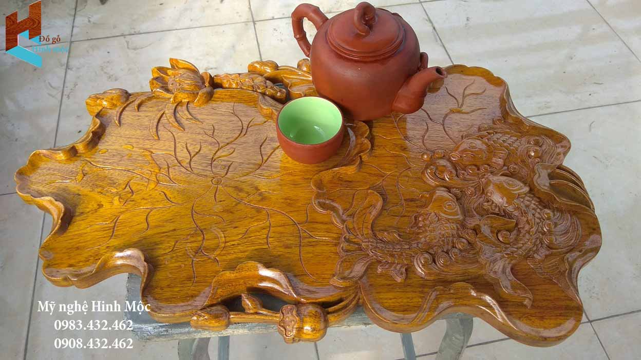 Khay trà đẹp đục cá chép