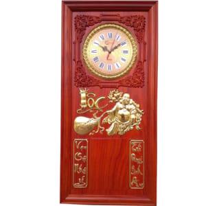 Khung lịch gỗ treo tường gắn đồng hồ