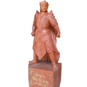 Tượng Triệu Vân gỗ hương