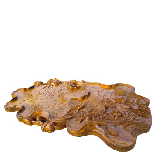 Khay trà cá chép bằng gỗ gụ