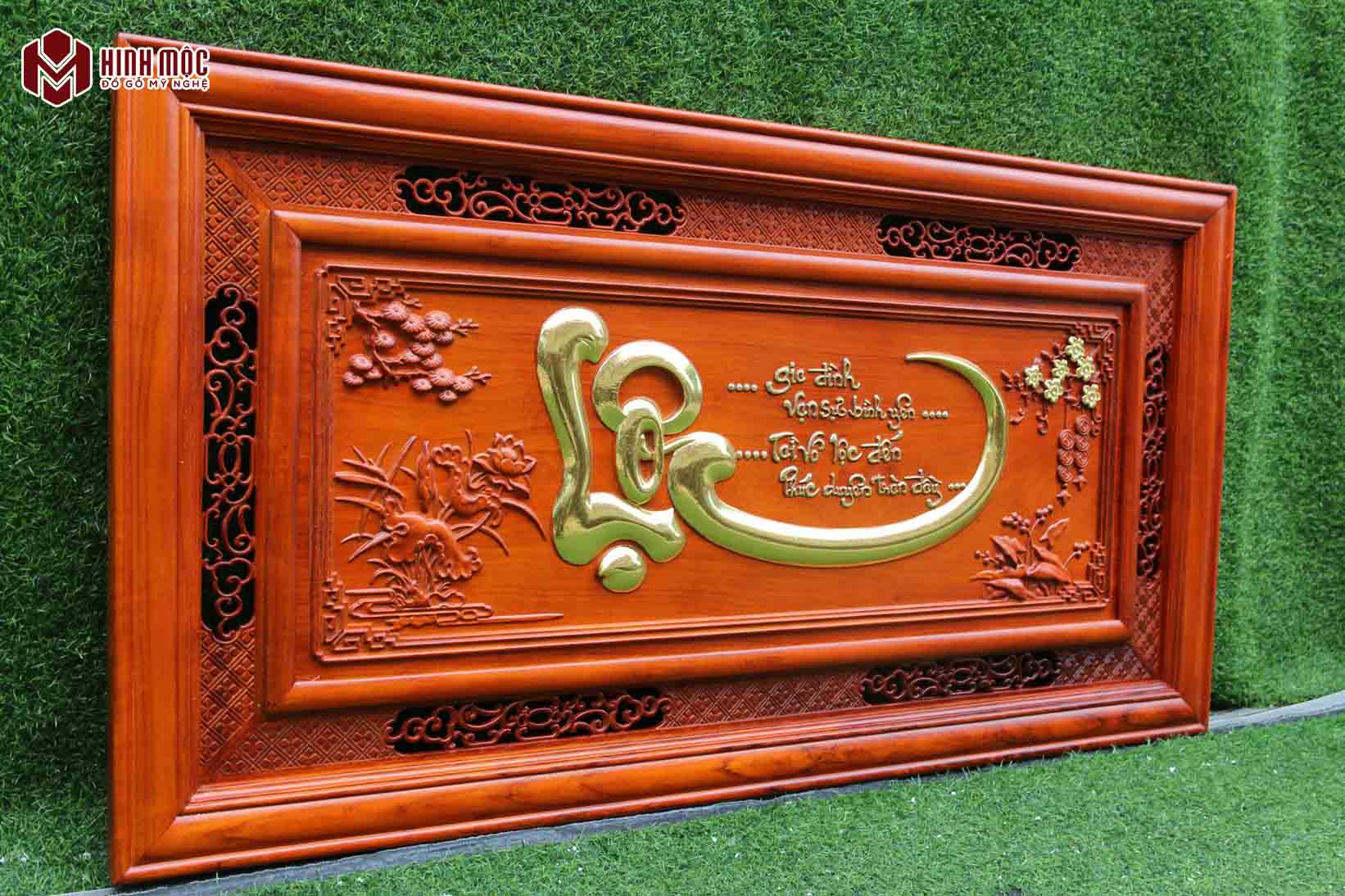 tranh gỗ chữ lộc mạ vàng