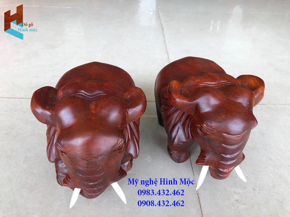 Cặp voi đẹp bằng gỗ hương