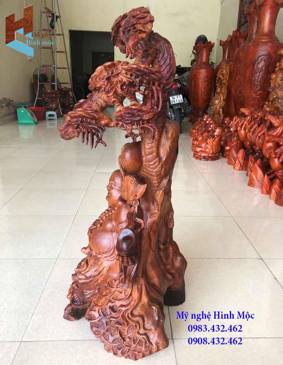 Tượng gỗ Phật Di lặc vác như ý