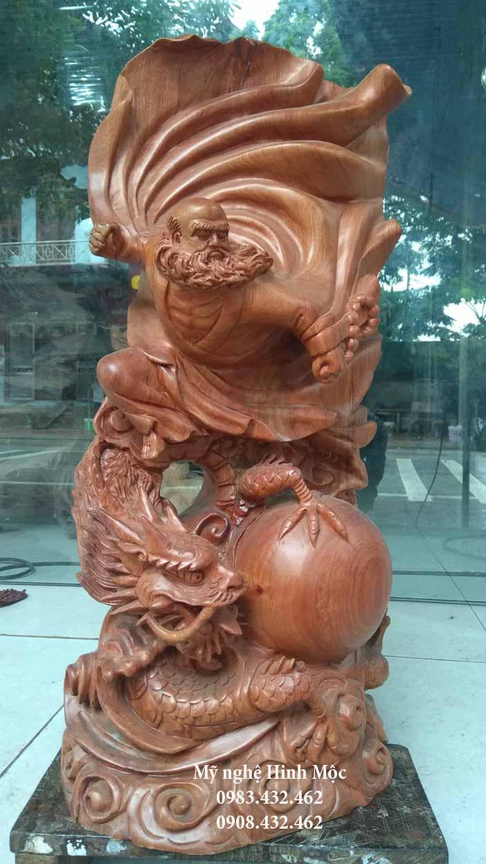 Tượng Đạt Ma cưỡi rồng 60cm