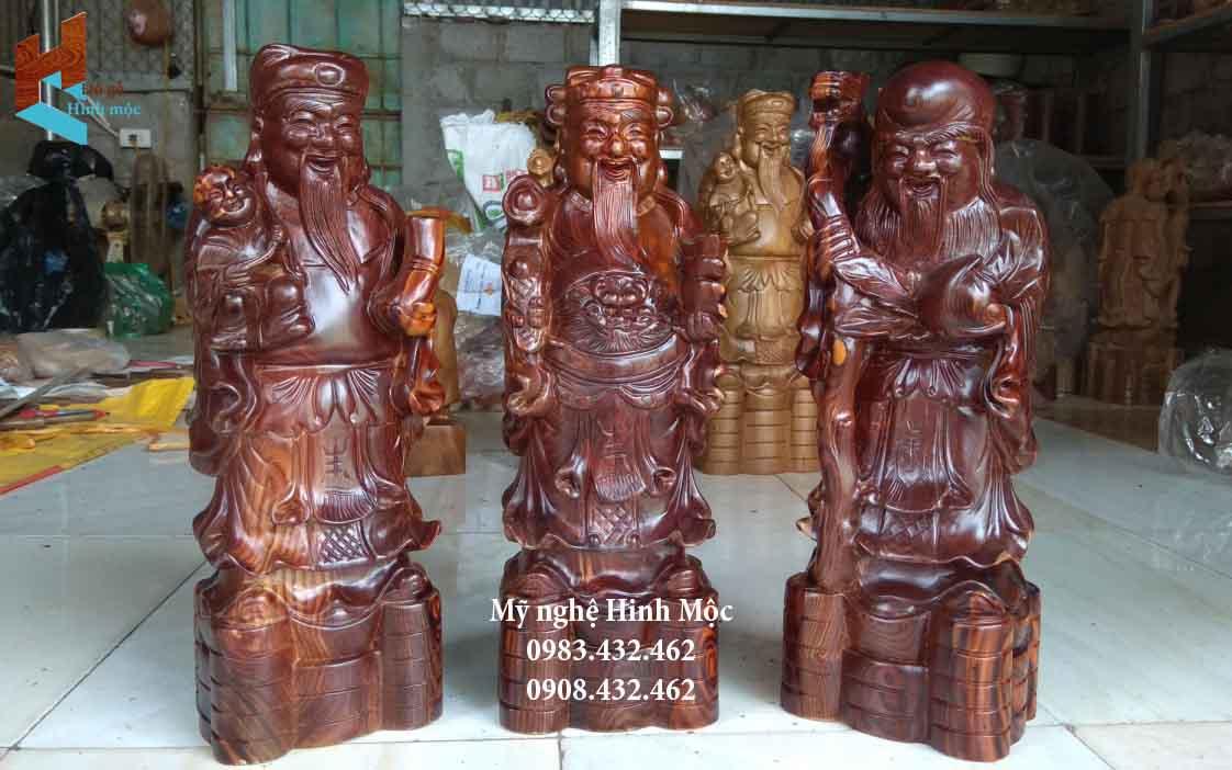 Bộ tượng Phúc Lộc Thọ gỗ đẹp