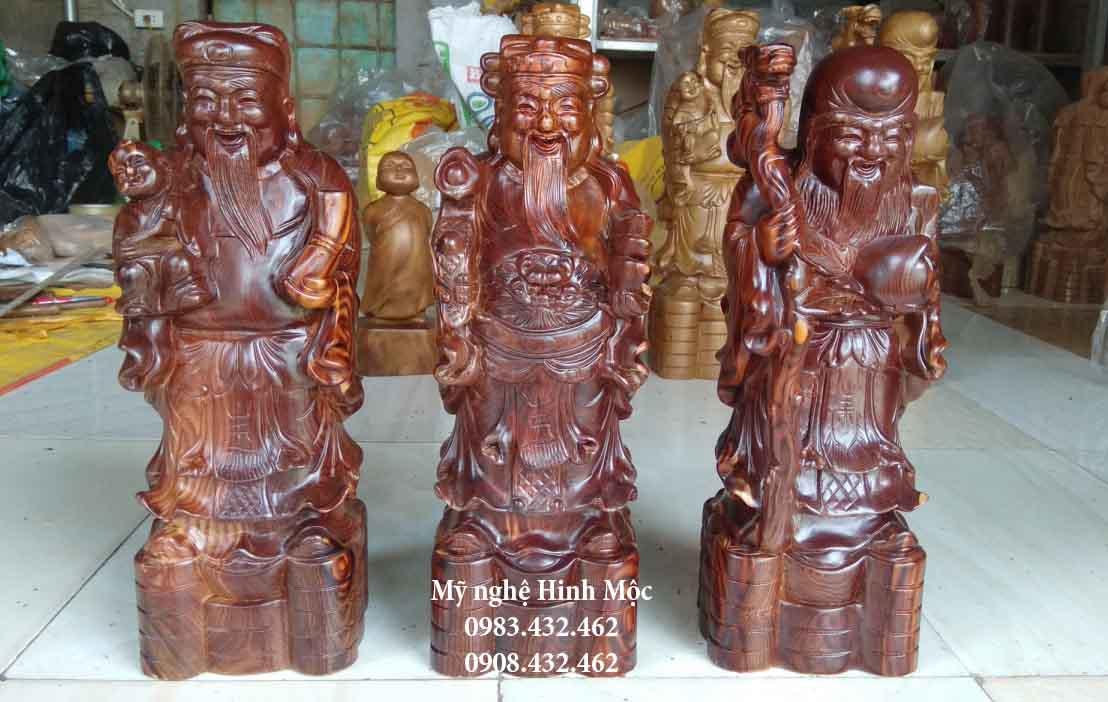 Tượng Phúc Lộc Thọ 40cm gỗ trắc dây