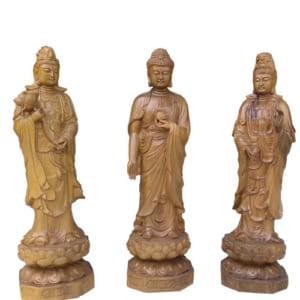 Bộ tượng Tam Thánh gỗ bách xanh 40cm