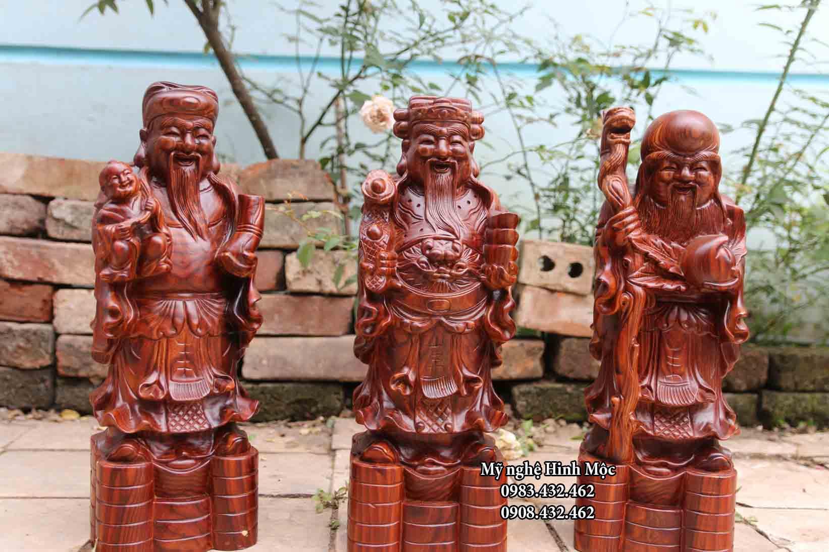 Tượng gỗ Phúc Lộc Thọ 40cm