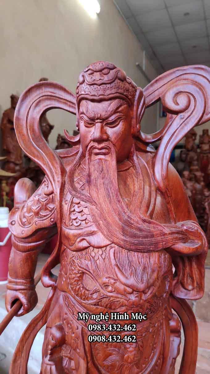 Tượng gỗ quan thánh đế quân 70cm