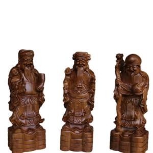 Tượng Phúc Lộc Thọ cao 30cm gỗ bách xanh