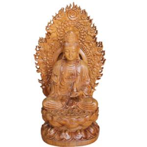 Phật mẹ Quan Âm 20cm gỗ bách xanh