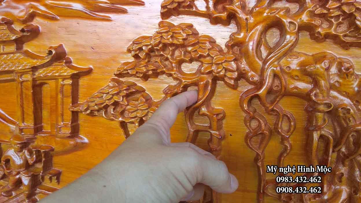 Tranh đồng quê bằng gỗ hương