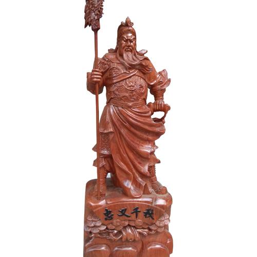 Quan Võ thánh đứng cầm đao 70cm gỗ hương