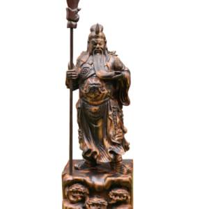 Tượng Quan Công đứng chống đao gỗ mun