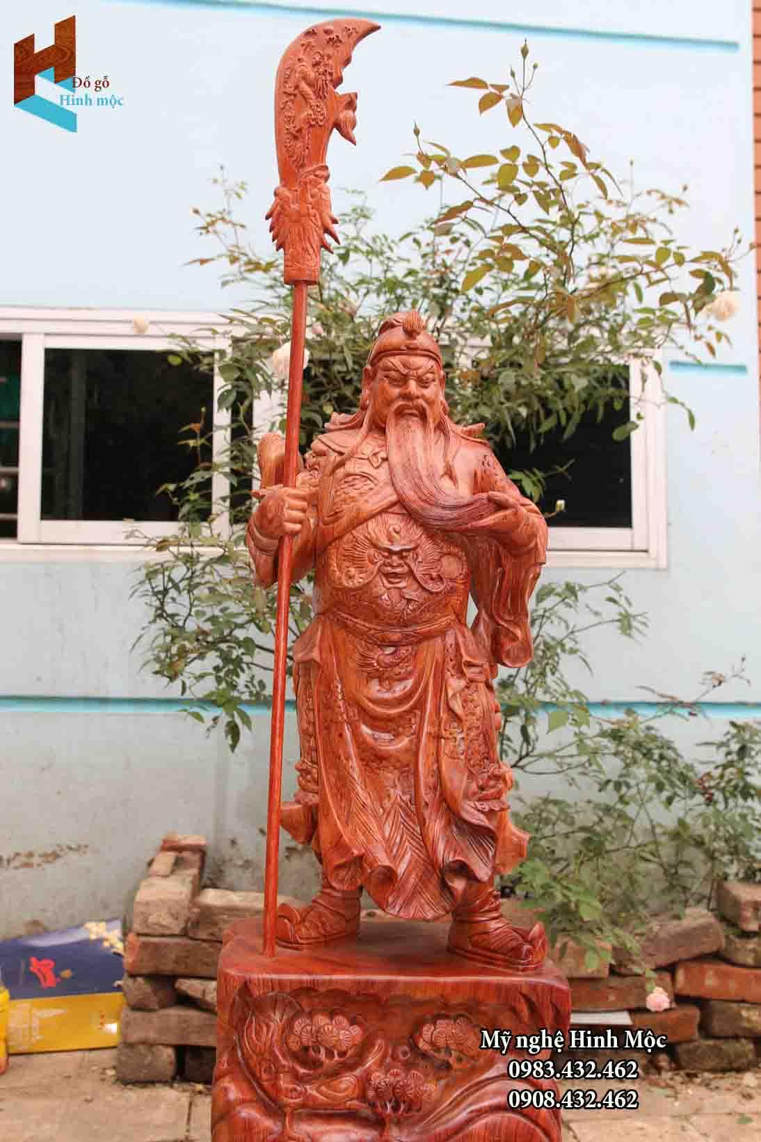 Tượng gỗ Quan Vân Trường 80cm