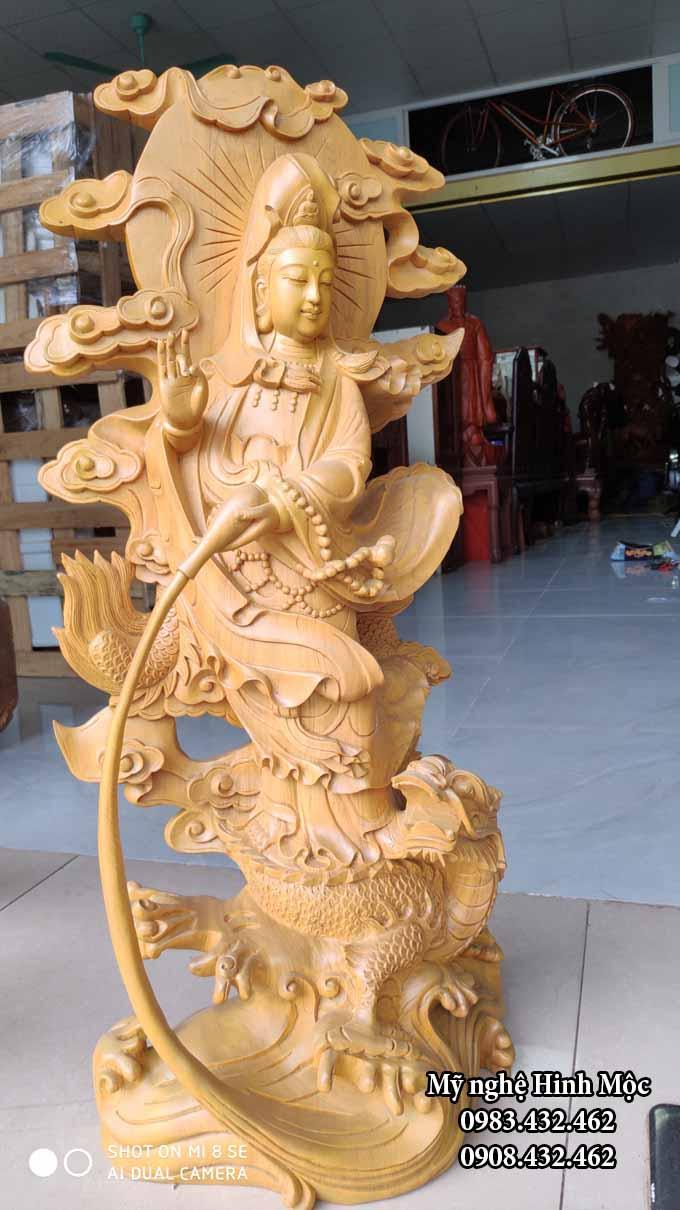 Phật Mẹ Quán Thế Âm 70cm gỗ pơmu