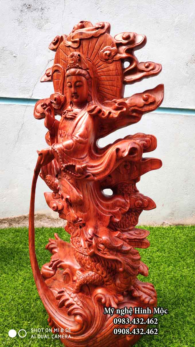 phật mẹ đứng rồng bằng gỗ hương