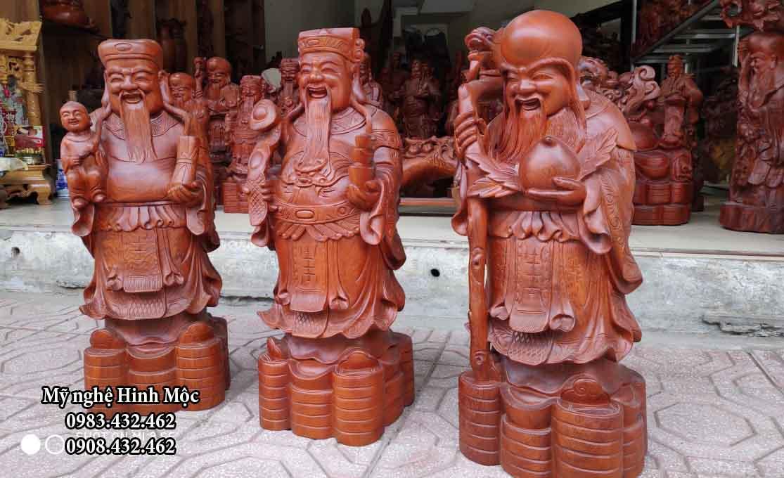 Tượng gỗ Phúc Lộc Thọ 60cm