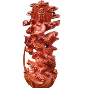 Mẹ Quan Âm cưỡi rồng 70cm gỗ hương đá
