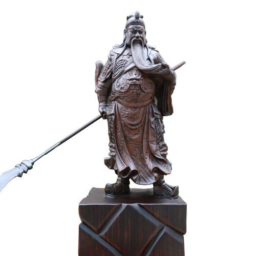 Quan Vũ đứng xách đao 50cm gỗ mun