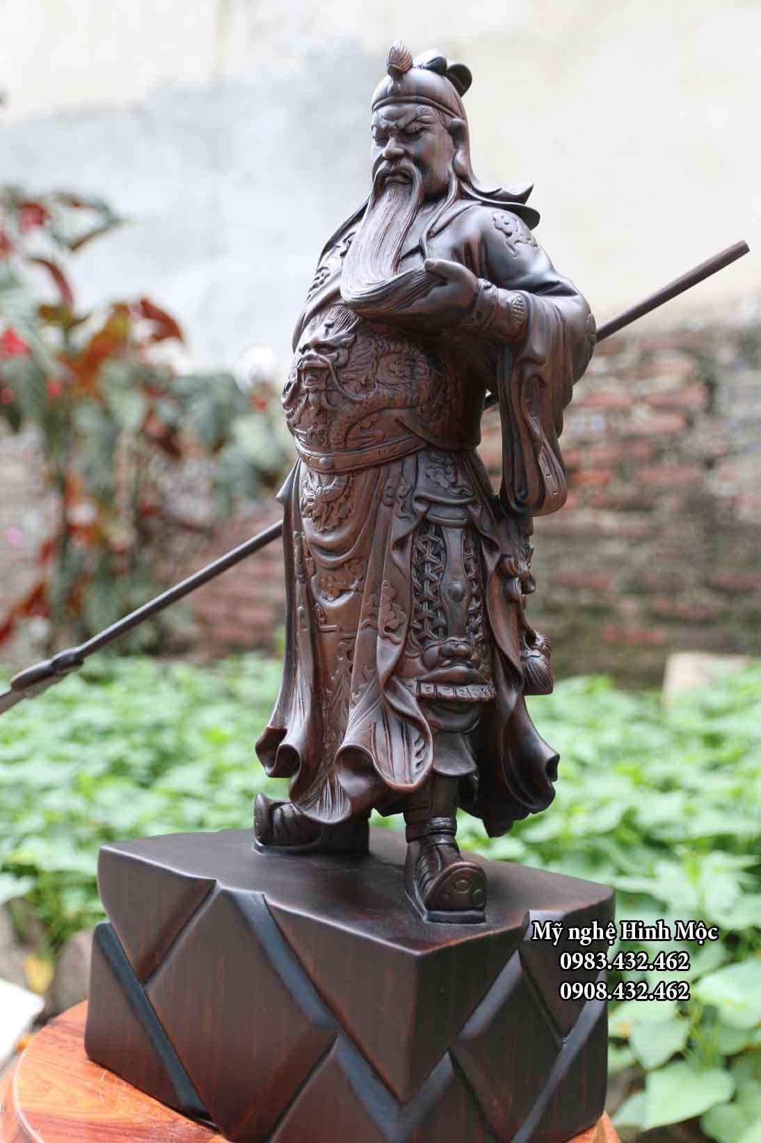 Tượng Quan Công 50cm gỗ mun