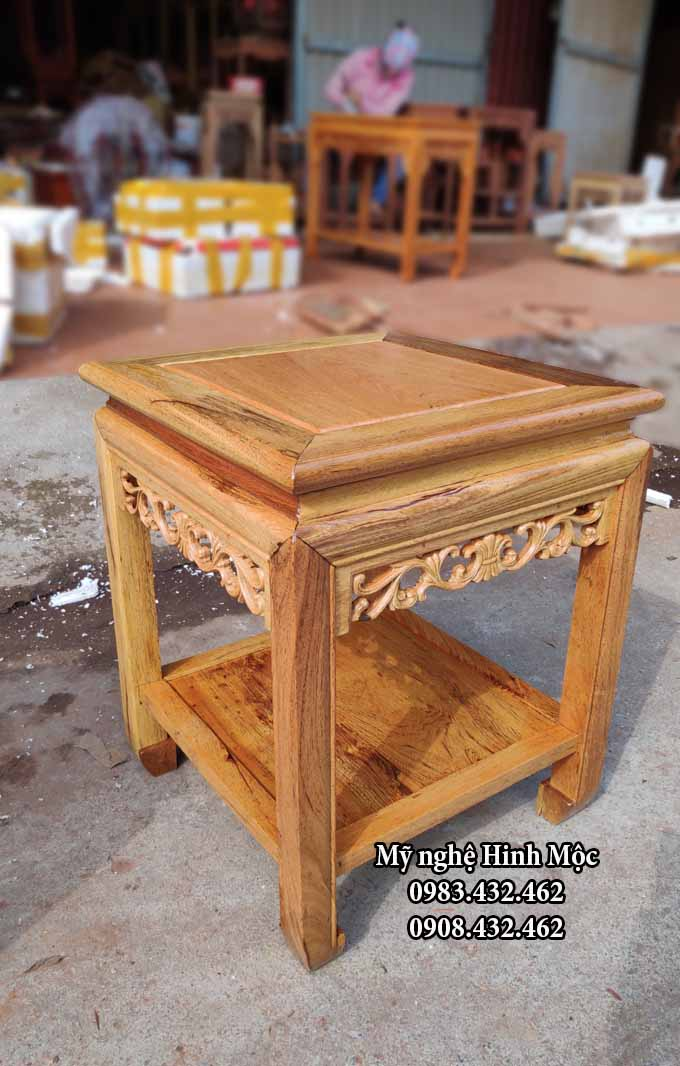 Đôn gỗ gụ cao 50cm mặt vuông