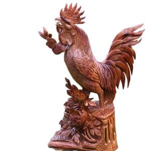 Tượng gỗ con gà trống