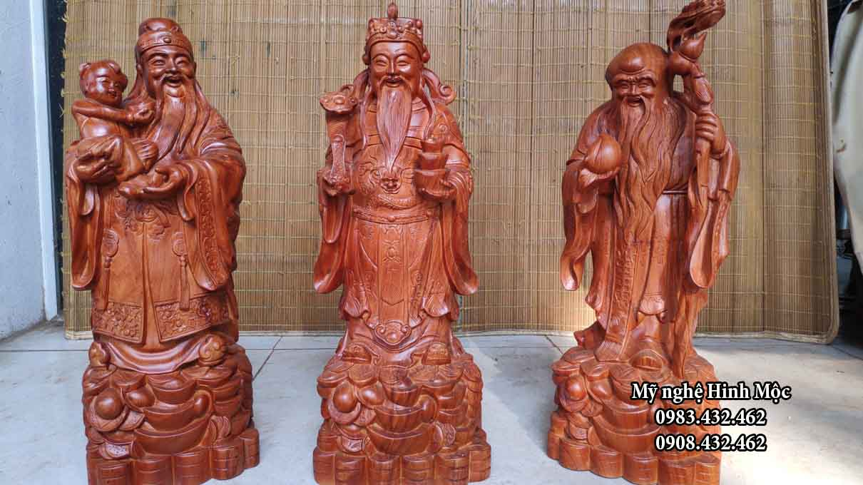 Bộ Phúc Lộc Thọ cao 60cm gỗ hương