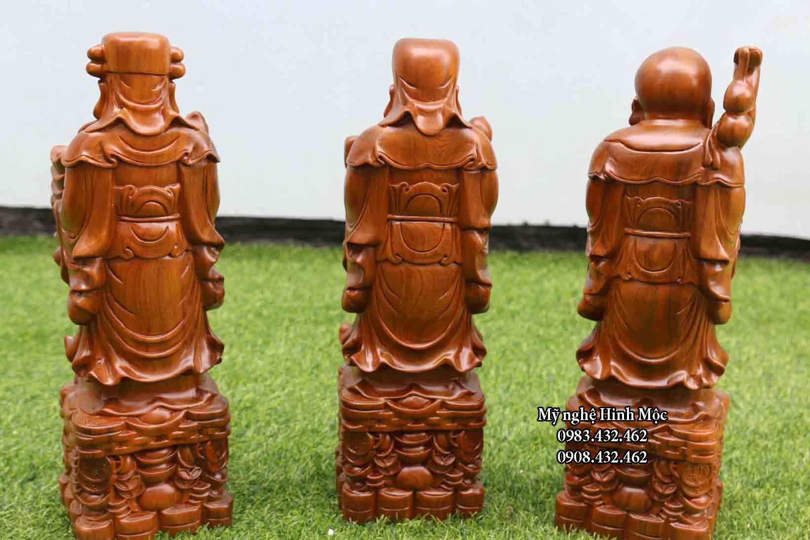 Bộ Phước Lộc Thọ 40cm gỗ bách xanh