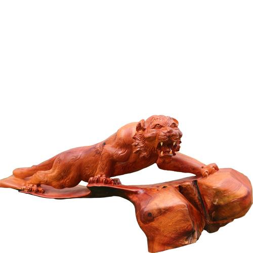 Tượng con hổ gỗ hương
