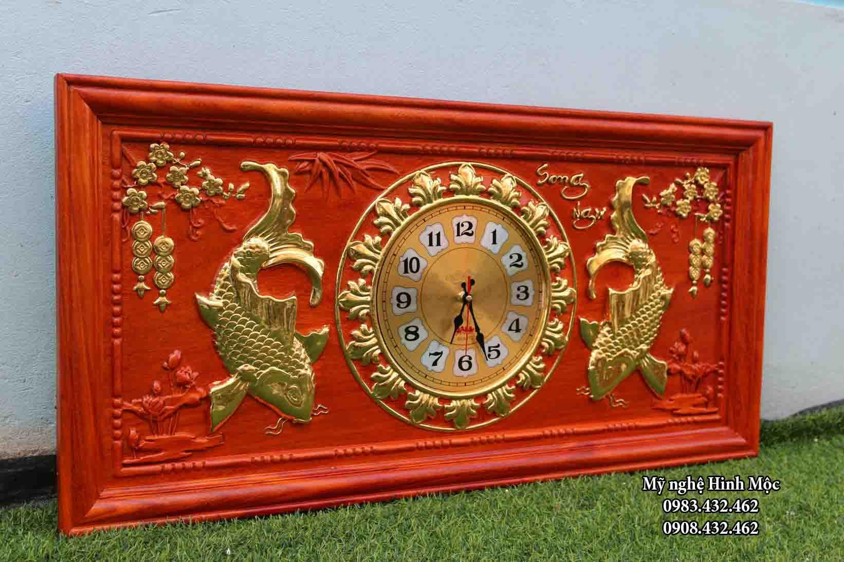 Đồng hồ tranh gỗ cá chép song ngư