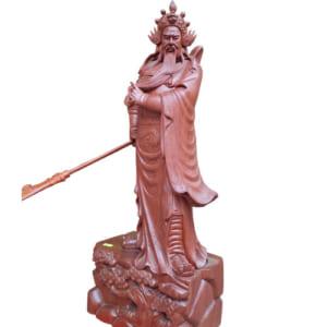 Quan Vũ xách đao cao 80cm gỗ hương