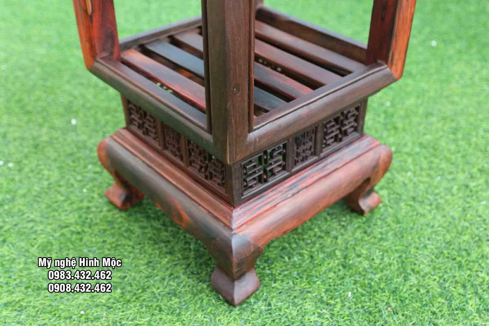Đôn vuông gỗ trắc cao 60cm